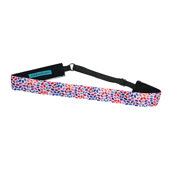 Adjustable, elastic headband with multi-color abstract pattern and felt backing